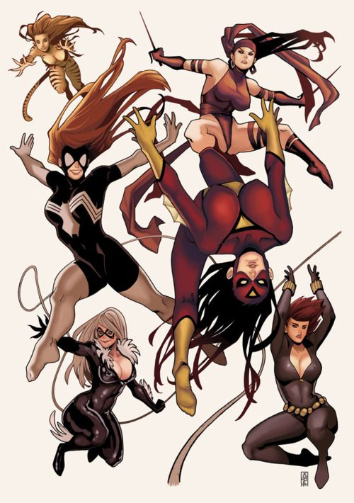 Tigresa, Mulher Aranha I, Mulher Aranha II, Elektra, Gata Negra, Viúva Negra