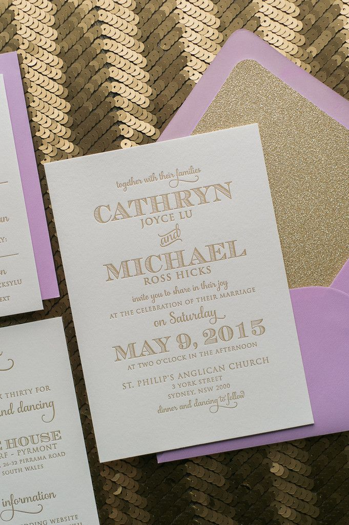 blank wedding invitations%0A Fabulous Lavender and Gold Glitter Modern Letterpress Wedding Invitations   KRISTEN Glitter Collection by Just Invite
