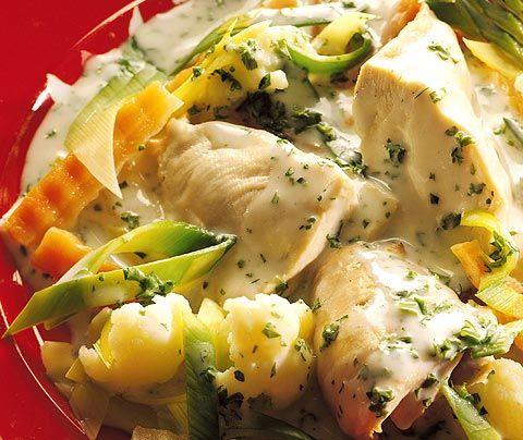 Norwegian Chicken Fricassee - Kyllingfrikasse http://www.matprat.no/oppskrifter/type-rett/middagsrett/gryter/kyllingfrikasse