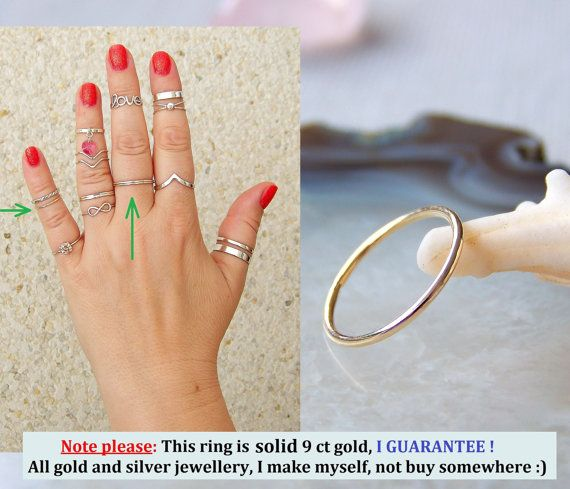 Solid 9 ct 375 Gold Band Ring Midi Ring Toe by SilverTrend4U