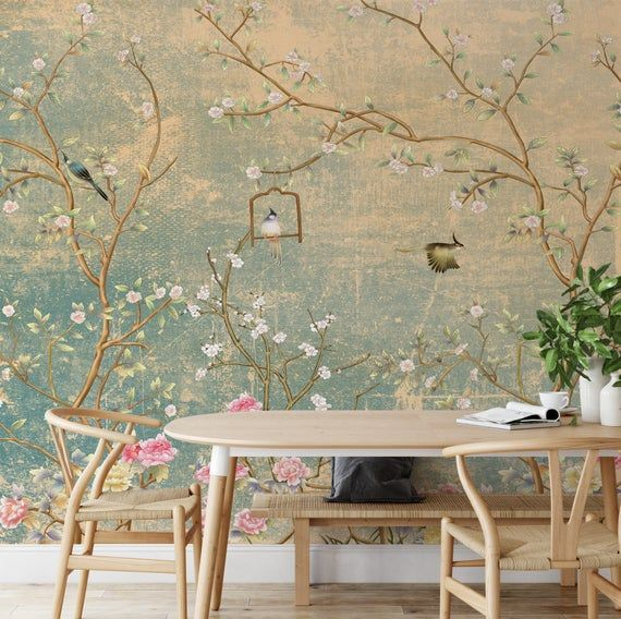 Peel And Stick Wallpaper Home Decor Mural Birds Floral Wallpaper Odour Free Washable Wall Paper For Dining Room 30 Off On 5 Units Removable Wallpaper Wallpaper Walls Decor Wall Wallpaper