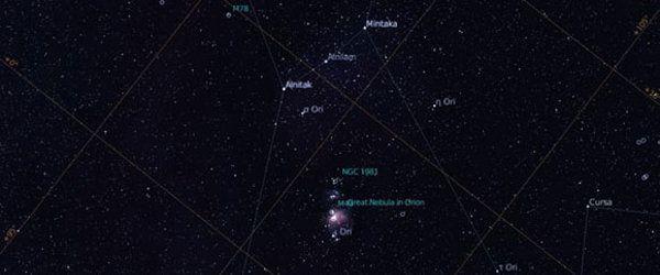 Orionin suuri kaasusumu. Paina N saadaksesi tähtisumujen merkit näkyviin. Myös tähtikuviot ovat näkyvissä, paina C piilottaaksesi ne tai tuodaksesi ne näkyviin.