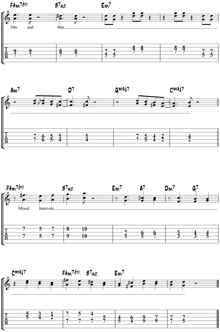 Learn fun and cool-sounding Autumn Leaves jazz guitar chords based on intervallic ideas, including text, tab and audio examples.
