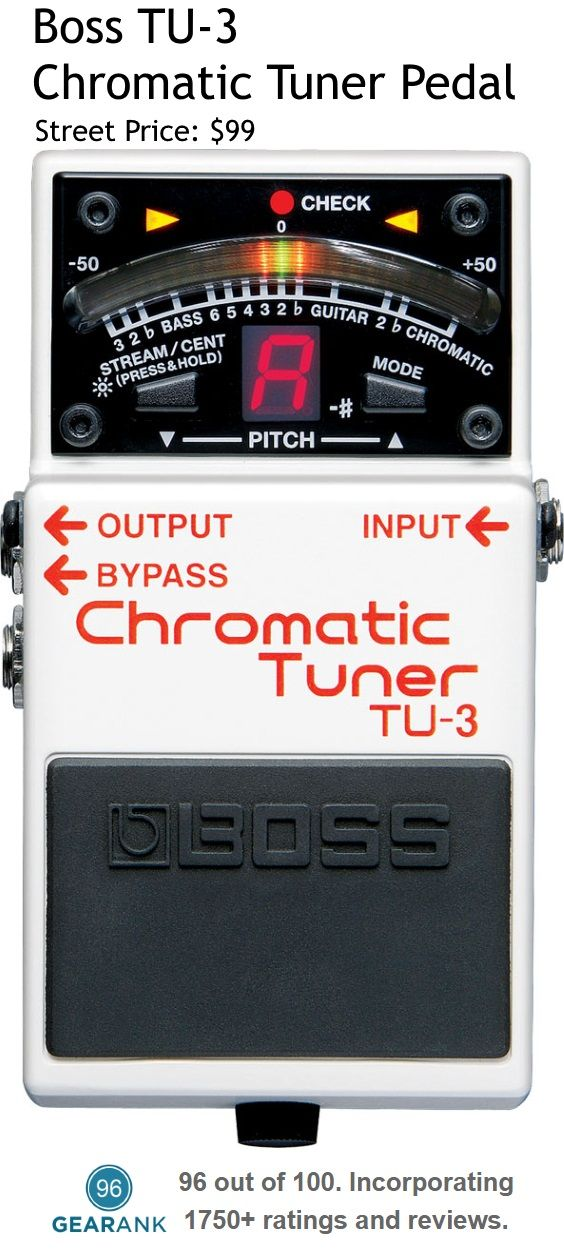 Boss TU-3 Guitar Tuner Pedal. This was the Highest Rated Tuner Pedal March 2017. Specifications:Tuning Accuracy: ±1 cent - Tuning Range: C0 (16.35Hz)–C8 (4186Hz) - Reference Pitch: A4=436 ti 445 Hz (1 Hz step) - Tuning Modes: Chromatic and Guitar/Bass mode (tune by string number, with support for 7-string guitars and 6-string basses).  For a guide to The Best Guitar Tuners see https://www.gearank.com/guides/guitar-tuners