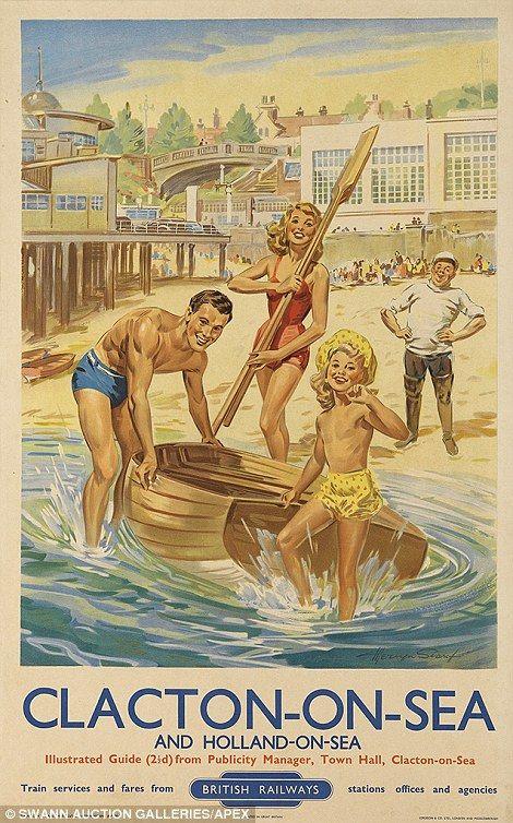Vintage railway posters of UK seaside destinations...