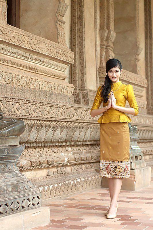 Lao silk at Wat Phra Keo, Vientiane. All silky.