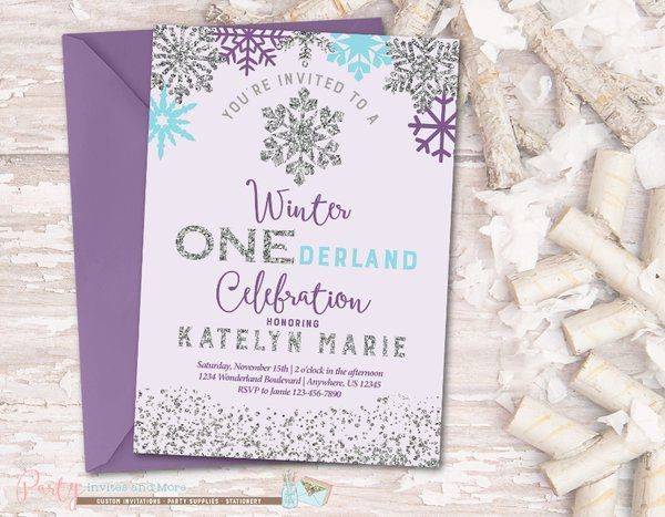 winter birthday invitation onederland birthday invitation party invites and more - Winter Onederland Party Invitations