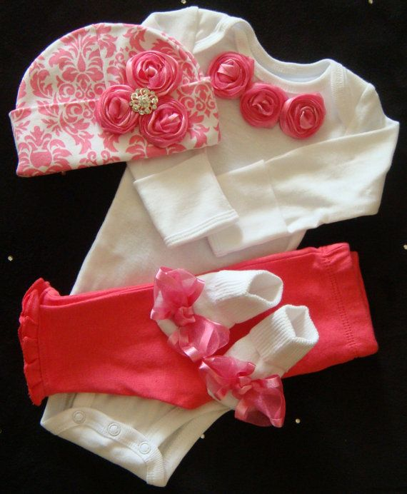 NEWBORN baby girl take home outfit complete bodysuit set pink damask beanie hat pink pants socks rosettes bows bling