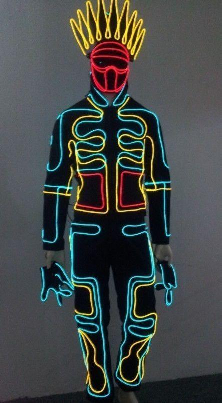Iluminate like Tron King LED Robot Costume Night Club party EDM Rave Halloween