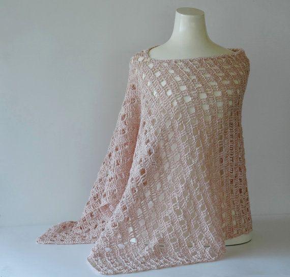 Dusty pink poncho or shawl, eyelet crochet in lightweight linen yarn by KororaCrafters