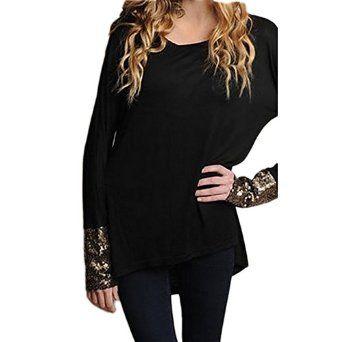 XYL Women Fashion Sequin Irregular Hem T-Shirt Tops