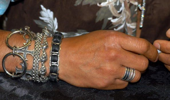 Musician Slash's jewelry is seen during a special instore ...