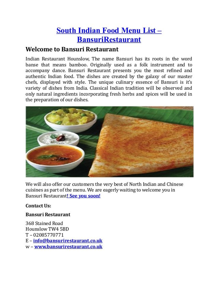 Best South Indian Food Menu List Hounslow Images On