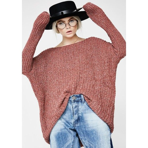 Sparkly Coral Knit Sweater ($35) ❤ liked on Polyvore featuring tops, sweaters, oversized sweaters, long sleeve tops, red top, coral sweater and long sleeve knit sweater