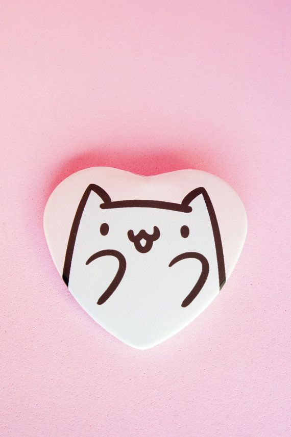 Excited Cat 2 Inch Heart Shaped Pinback Button by thepinksamurai
