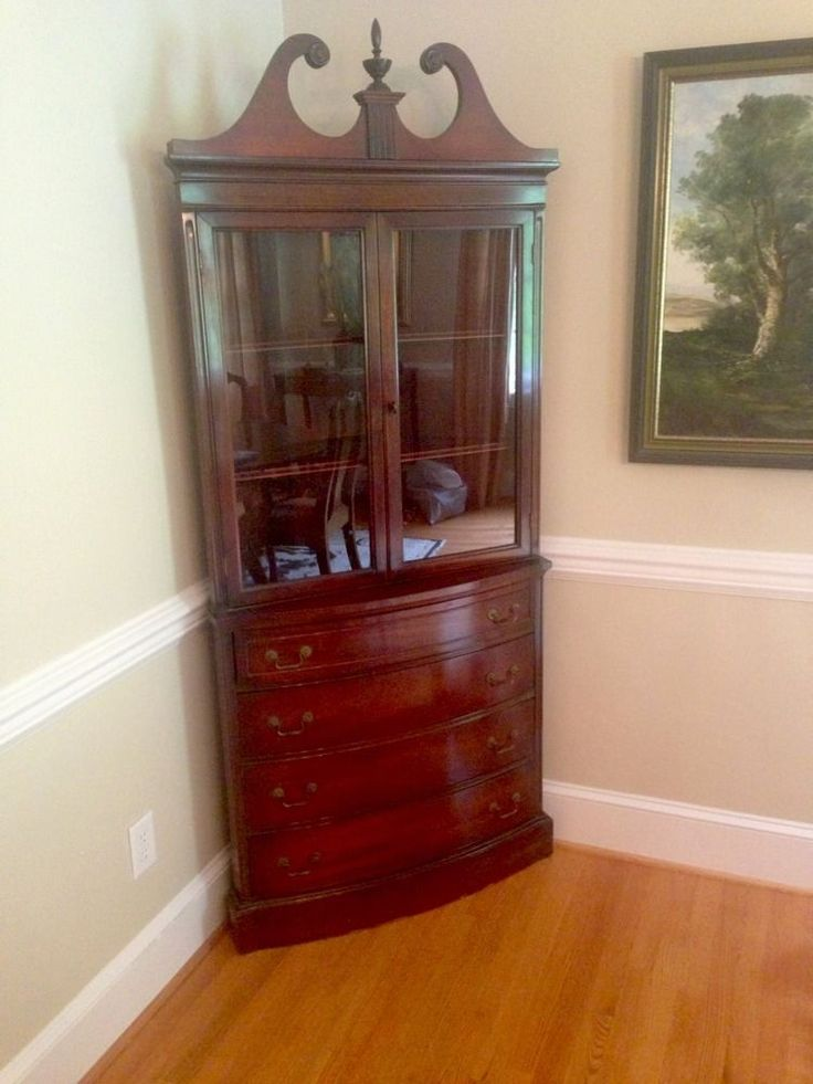 Antique Mahogany Bow Corner China Cabinet Curio Chippendale DREXEL