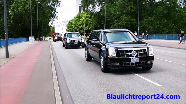 G20 Hamburg VIP escort US President Trump Secret Service & Police  2 x T...