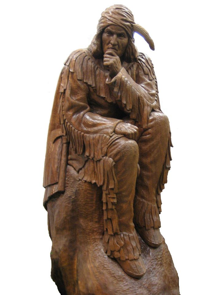 Wooden Statue of Tecumseh by Artist Neil Z. Cox