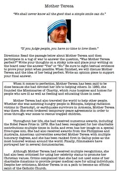 essay of mother teresa in english Mother teresa was a person that was admired and respected  while in ireland  she learned to speak english and in november she went to.