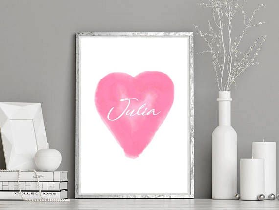 Printable Pink Watercolour Heart with Custom Name Nursery Art Print -Instant Digital Download Personalised Baby Name Nursery Watercolour Art