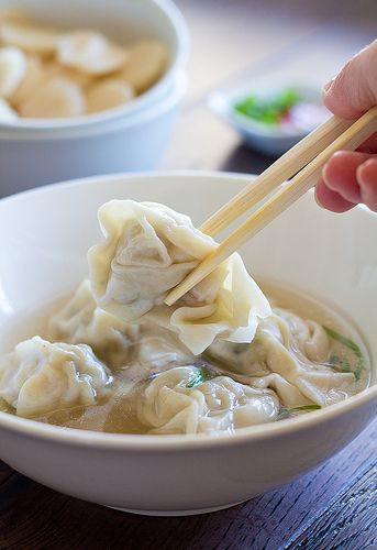Homemade Wonton Soup - use whole wheat wonton wrappers, if available.  ---canuckcuisine.com