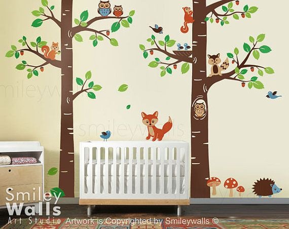 Wall Art Decal - Forest Animals wall decal Tree Tops Woodland Critters - Children Nursery Kids Playroom Vinyl Wall Decal Sticker