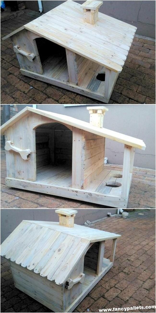 Easy To Make Pallet Wood Dog House With Food Bowls Wood Dog