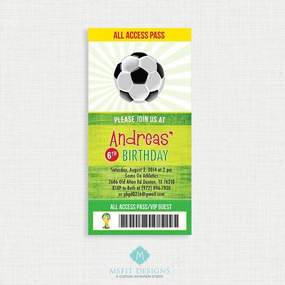 Soccer Birthday Invitation Soccer Birthday Party by MsfitDesigns, $17.00