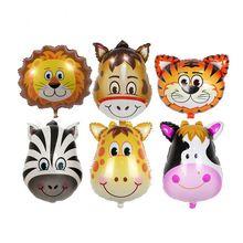 1 stks Grote Leuke Dier Hoofd Folie Ballon Tijger Leeuw Aap Zebra Herten Koe Helium Ballon Verjaardagsfeestje Decoratie Gift voor Kids(China (Mainland))