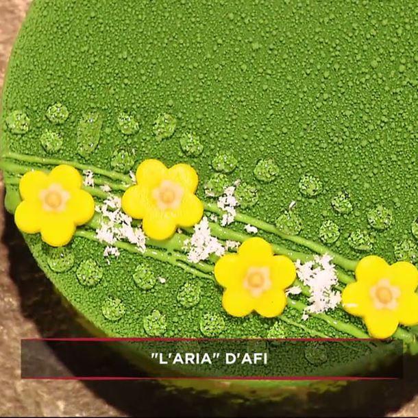 Entremets coco mangue citron vert