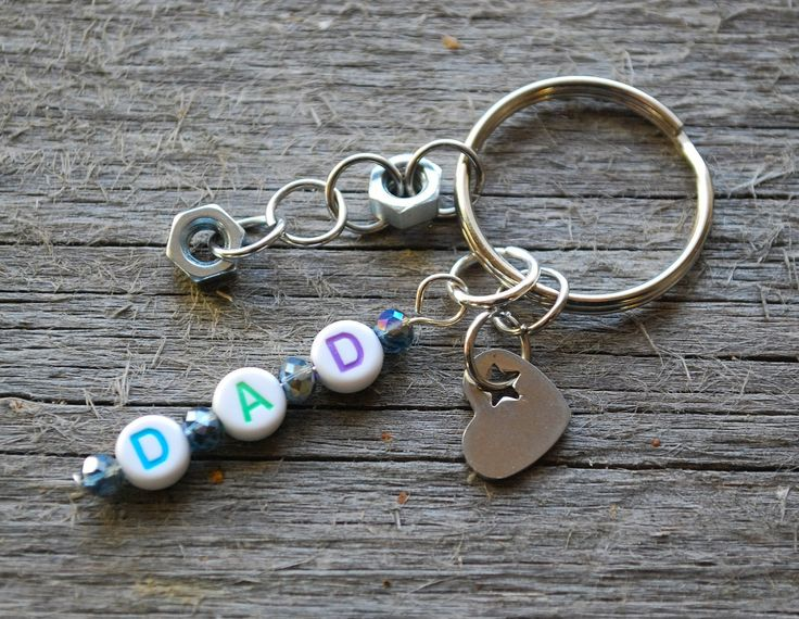 Dad keychain with a heart and small nuts - Dad key chain - dad key ring - gift for dad - dad heart key chain - new dad gift - love dad gift by leonorafi on Etsy