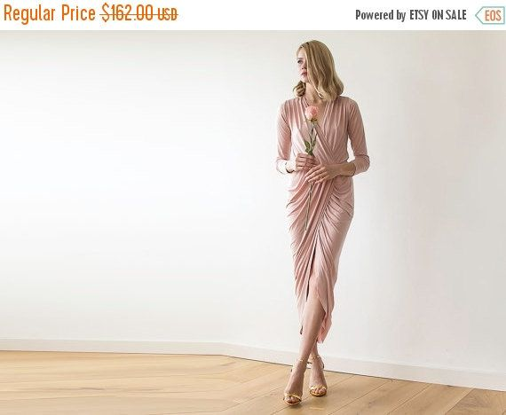 Maxi wrap pink dress Maxi pink gown with long by BLUSHFASHION
