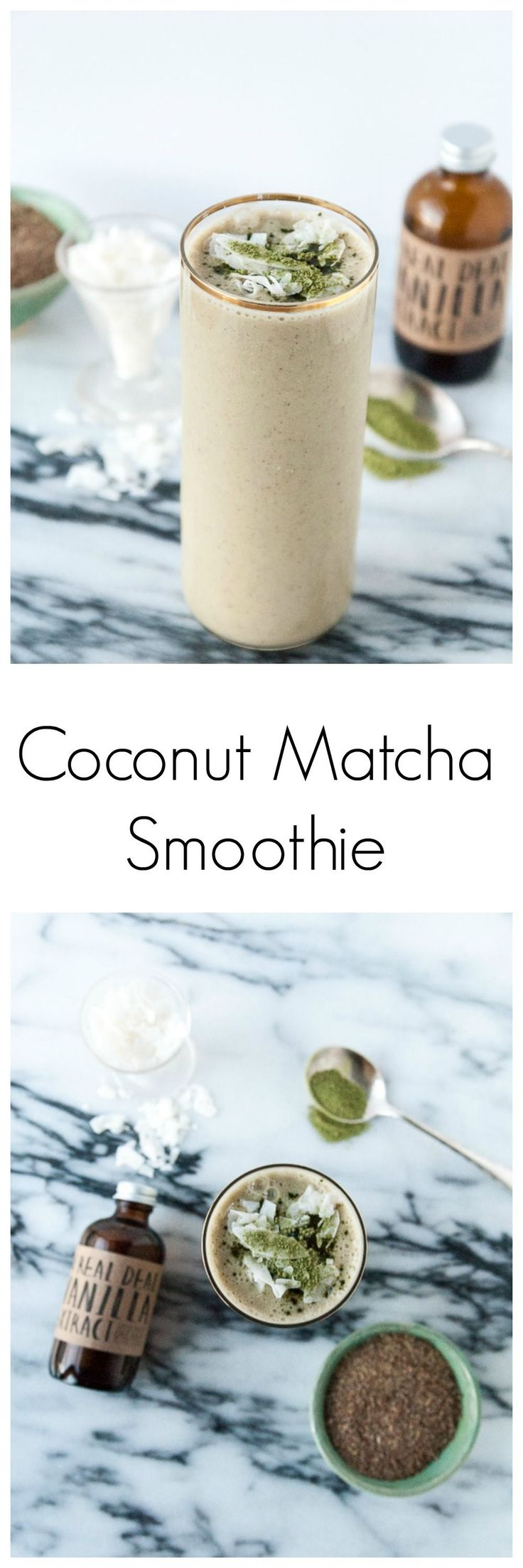 Coconut Matcha Smoothie- A healthy matcha smoothie chock full of bananas, coconut and all kinds of goodness! Perfect for breakfast or a quick power snack.