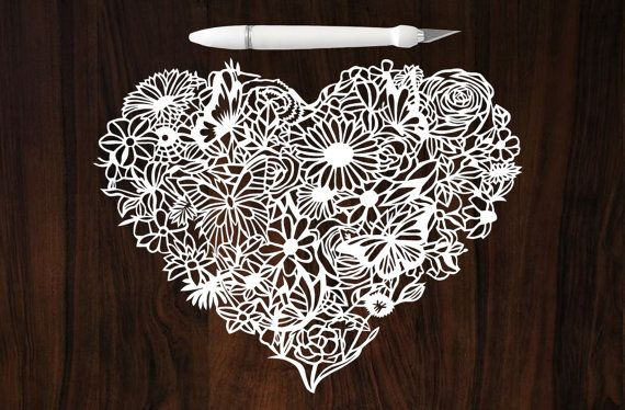 Mothers Day Gift - Paper Cut Art - Papercutting - Floral heart Papercut - Botanic Art - Wedding Present - First Anniversary Gift - OOAK