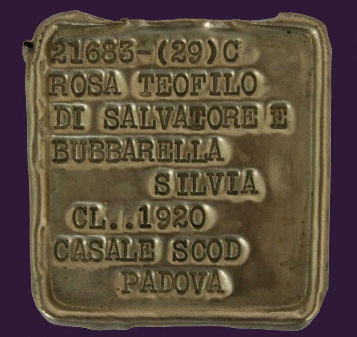 Στρατιωτική ταυτότητα Ιταλού στρατιώτη. Αλουμίνιο. Β΄ Παγκόσμιος Πόλεμος