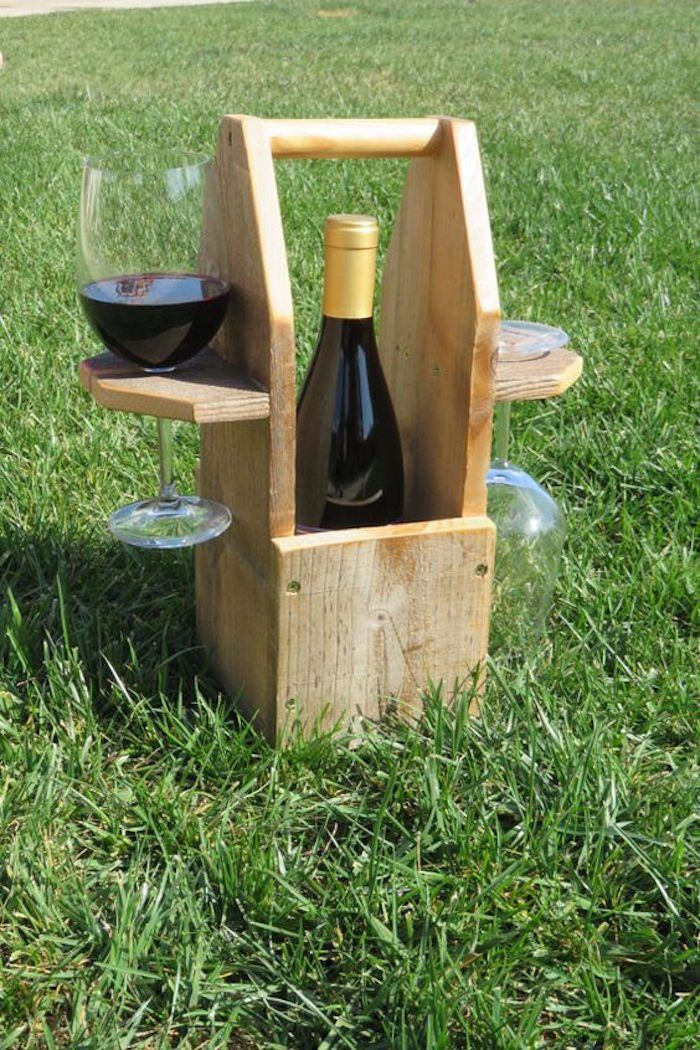 DIY reclaimed wood wine bottle and glass caddy