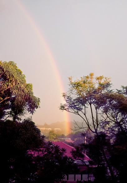 rainbow over the suburb where I live