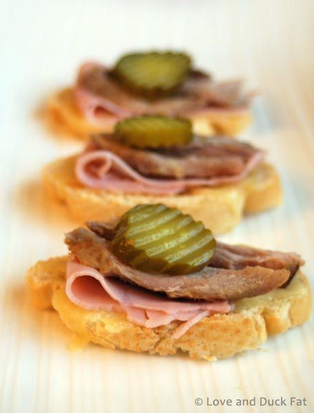 Easy appetizer recipe | Cuban sandwich crostini - Love and Duck Fat