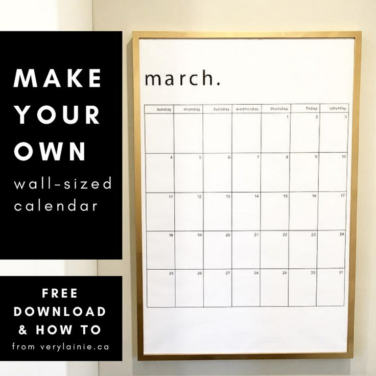 Make your own calendar - with lots of room to organize your family, life, and events.    Download the calendar pages for free and check out the step by step tutorial that uses an IKEA frame to make it happen.  DIY | DIY project | organize | organization | kitchen | plan | planner | IKEA hack |