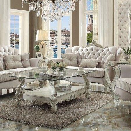 Acme Versailles 2 Piece Living Room Set In Ivory Velvet