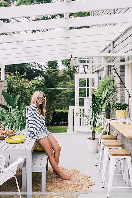 Planting + Table + Gas Strut Window + Servery   via Three Birds Renos #servery #gastrut #palms