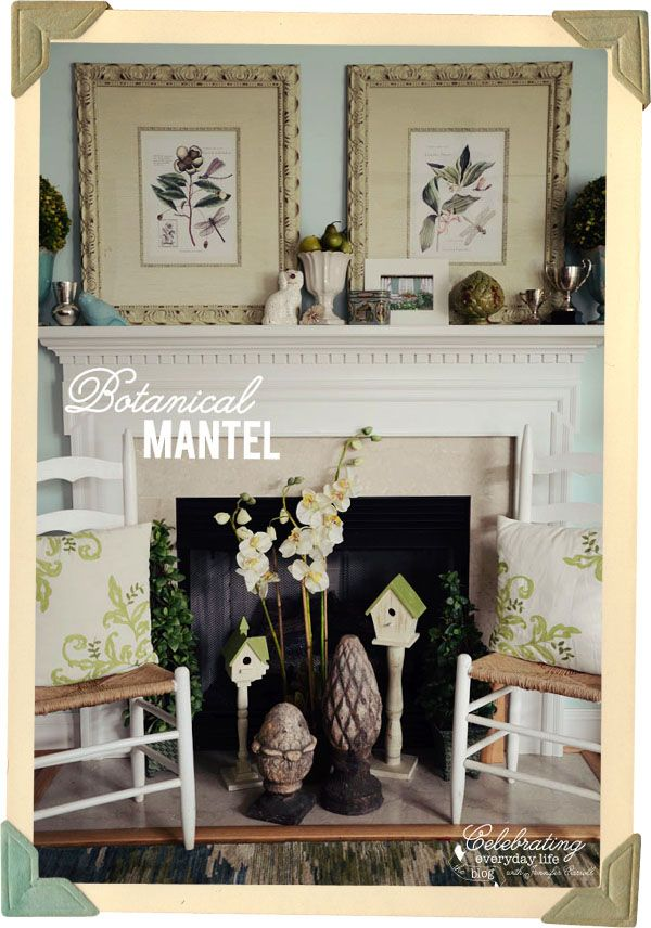 Decorating a Mantel Botanical Print Inspiration Mantle