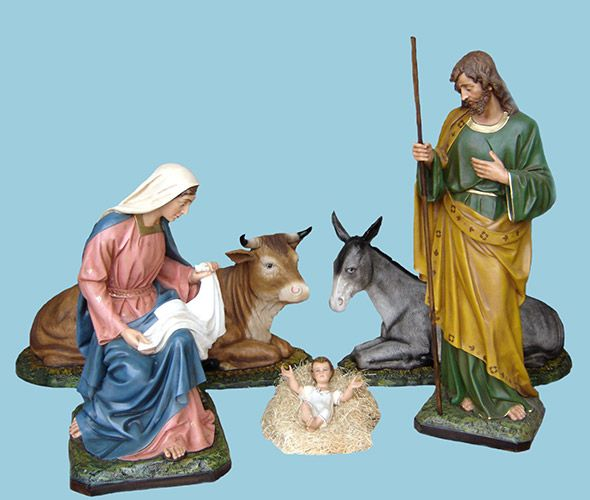 "Wonderful Nativity Set : St. Joseph cm. 160 (64"") ; Virgen Mary Sitting Cm. 120 (48"") Jesus Child cm. 50 (20"") Ox and Donkey proportioned. Handmade in Fiberglass and paint with Acrilic Colors Very good for Outdoor or Indoor. Eyes of Glass Included at St. Joseph, Mary and Child. Time of Deliveriment 25-40 working days."