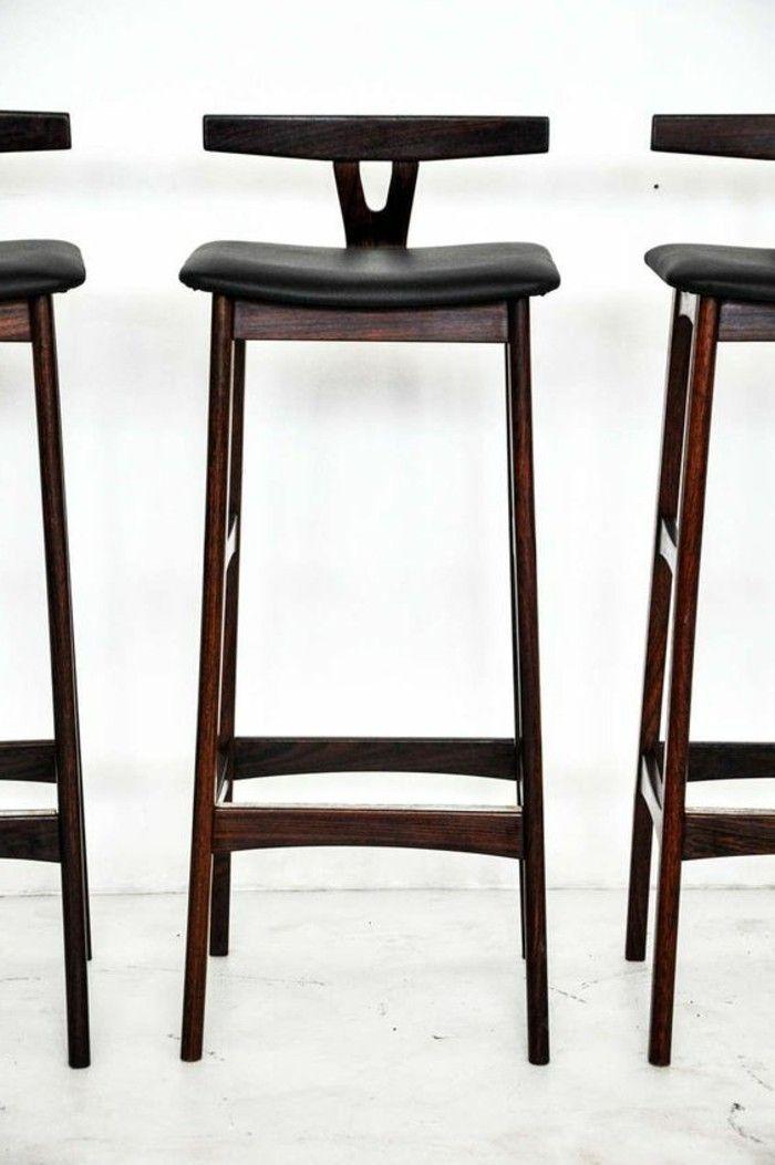 tabouret bar siege de peau noir haute style moderne