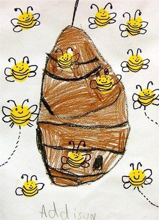 * Bijenkorf tekenen en de bijtjes met vingertop tamponneren en daarna bijtje aftekenen...