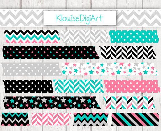 Green Black and Pink Digital Printable Washi by KlouiseDigiArt