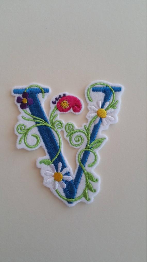 "3/"" Pretty flower  letter p monogram  fabric applique iron on"