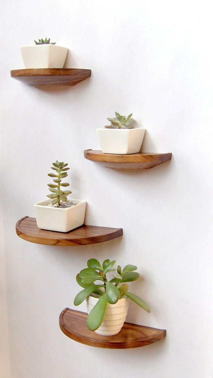 Pequeños estantes de madera barnizada ideal para organizar macetitas de crasas y cactus.