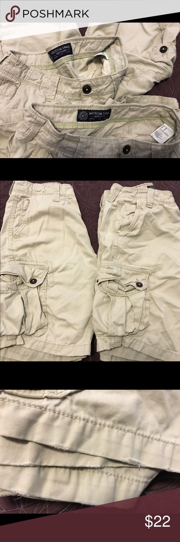 2 pair size 30 American Eagle cargo shorts 2 pair American Eagle cargo shorts , great condition with some slight fraying on the bottom of shorts. American Eagle Outfitters Shorts Cargo