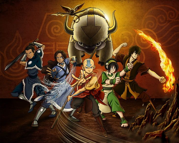Hd Wallpaper Avatar The Last Airbender Aang Katara Sokka Toph Beifong Wallpaper Flare The Last Airbender Aang Avatar